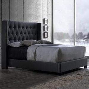 Fabric bed with side tables - 2