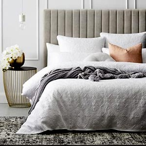 Fabric bed with side tables - 5