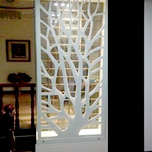 Partition Panel or Mandir With Complete Wood Work and Light Fitting